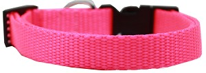 Plain Nylon Dog Collar MD Hot Pink