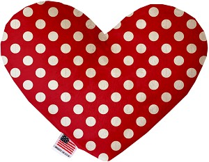 Red Swiss Dots 8 Inch Heart Dog Toy