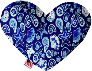 Blue Seashells 8 Inch Heart Dog Toy