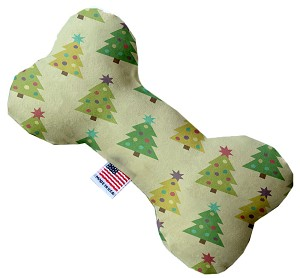 Cutesy Christmas Trees 10 Inch Bone Dog Toy