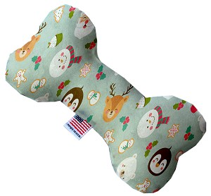 Gray Christmas Party 8 Inch Bone Dog Toy