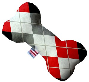 Red and Grey Argyle 10 Inch Bone Dog Toy