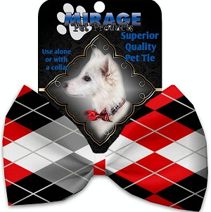 Red and Grey Argyle Pet Bow Tie