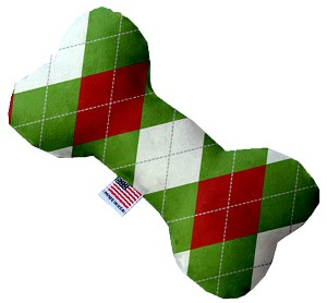 Christmas Argyle 10 Inch Bone Dog Toy