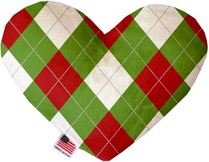 Christmas Argyle 6 Inch Heart Dog Toy