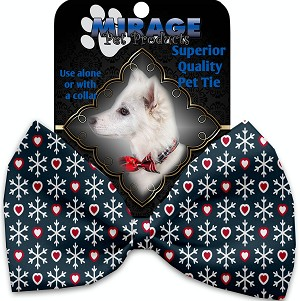 Snowflakes and Hearts Pet Bow Tie