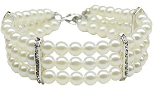 Three Row Pearl Necklace White Sm (8-10)