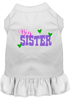 Big Sister Screen Print Dog Dress White Med