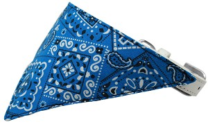 Blue Western Bandana Pet Collar White Size 18