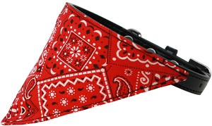 Red Western Bandana Pet Collar Black Size 14