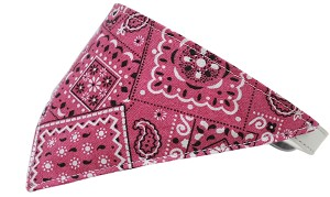 Bright Pink Western Bandana Pet Collar White Size 18