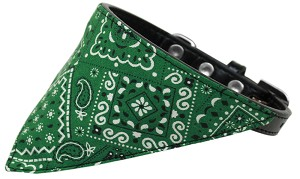 Emerald Green Western Bandana Pet Collar Black Size 14