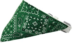 Emerald Green Western Bandana Pet Collar White Size 12