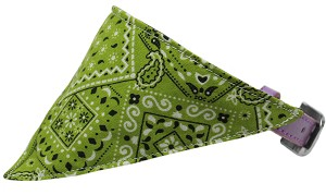 Lime Green Western Bandana Pet Collar Lavender Size 16