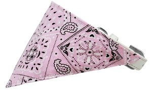 Light Pink Western Bandana Pet Collar White Size 12