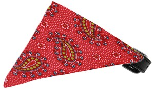 Bright Pink Pretty Paisley Bandana Pet Collar Black Size 12
