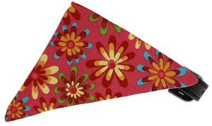 Bright Pink Crazy Daisies Bandana Pet Collar Black Size 10