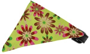 Lime Green Crazy Daisies Bandana Pet Collar Black Size 18