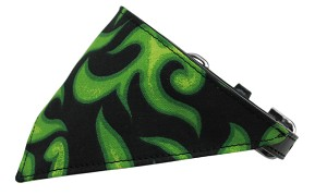 Green Flame Bandana Pet Collar Black Size 14