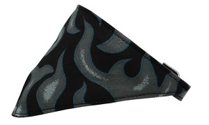 Grey Flame Bandana Pet Collar Black Size 14