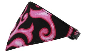 Pink Flame Bandana Pet Collar Black Size 18