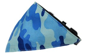 Blue Camo Bandana Pet Collar Black Size 12