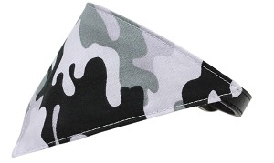 Grey Camo Bandana Pet Collar Black Size 16