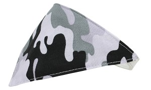 Grey Camo Bandana Pet Collar White Size 14