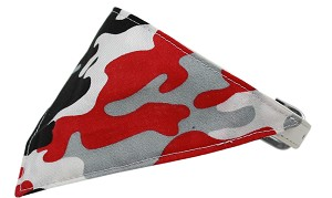 Red Camo Bandana Pet Collar White Size 14