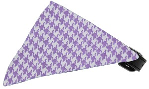 Lavender Houndstooth Bandana Pet Collar Black Size 20
