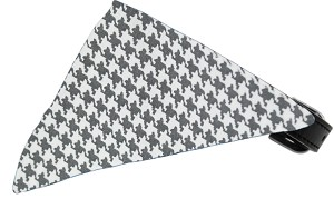 Grey Houndstooth Bandana Pet Collar Black Size 10
