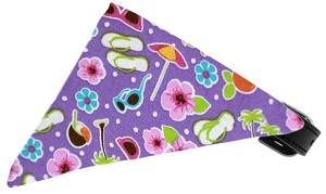 Purple Summer Fun Bandana Pet Collar Black Size 20