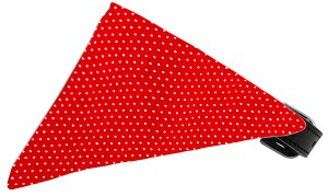 Red Swiss Dots Bandana Pet Collar Black Size 10