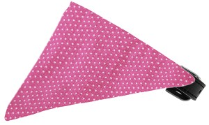 Bubblegum Pink Swiss Dots Bandana Pet Collar Black Size 16