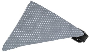 Grey Swiss Dots Bandana Pet Collar Black Size 10
