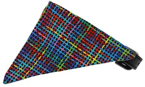 Rainbow Party Plaid Bandana Pet Collar Black Size 16