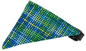 Blue Party Plaid Bandana Pet Collar Black Size 14