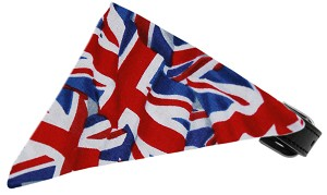 Union Jack(British) Flag Bandana Pet Collar Black Size 16