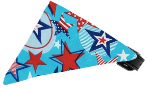 Patriotic Stars Bandana Pet Collar Black Size 14