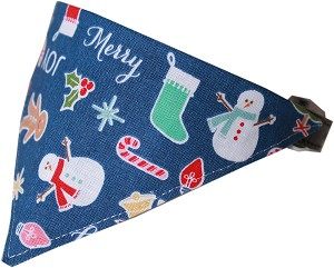 Holiday Mix Bandana Pet Collar Black Size 12