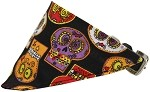 Crazy Skulls Bandana Pet Collar Black Size 10