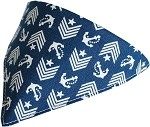 Blue Anchor Bandana Pet Collar Black Size 10