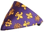 Purple Fleur De Lis Bandana Pet Collar Black Size 10