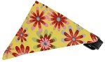 Yellow Crazy Daisies Bandana Pet Collar Black Size 10