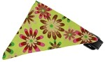 Lime Green Crazy Daisies Bandana Pet Collar Black Size 10