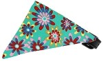 Aqua Crazy Daisies Bandana Pet Collar Black Size 10