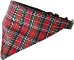 Red Plaid Bandana Pet Collar Black Size 10