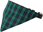 Green Plaid Bandana Pet Collar Black Size 10