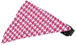 Bright Pink Houndstooth Bandana Pet Collar Black Size 20