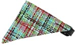 Aqua Party Plaid Bandana Pet Collar Black Size 10